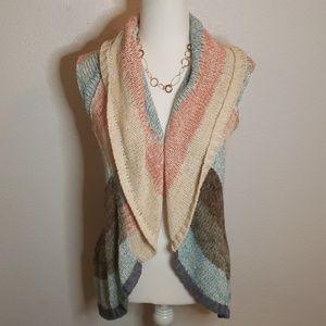 CAbi Crochet Cirlce Waterfall Vest Sweater,size XS